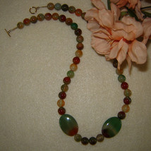 Rainbow Sardonyx Gemstone Beaded Necklace  FREE SHIPPING - $36.00