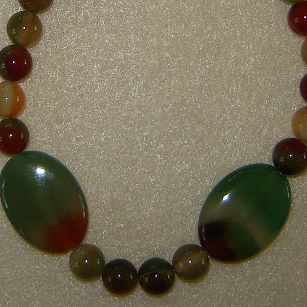 Rainbow Sardonyx Gemstone Beaded Necklace  FREE SHIPPING