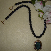 Montana Blue Glass Beaded Necklace With A Glass Oval Stone Pendant  FREE... - $36.00