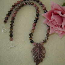 Rhodonite Gemstone Beaded Necklace With Leaf Pendant  FREE SHIPPING - $38.00