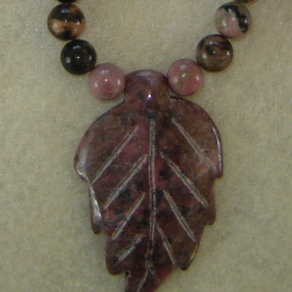 Rhodonite Gemstone Beaded Necklace With Leaf Pendant  FREE SHIPPING