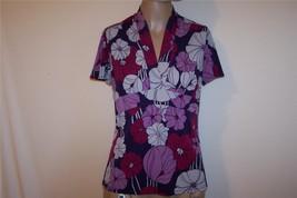 GEORGE Sz M 8/10 Shirt Top Spandex Stretch Purple Floral Short Sleeves V... - $11.30