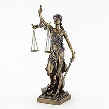 "Top Collection 12.5"" Blind Folded Lady Justice Statue in Cold Cast Bronz... - $67.75"