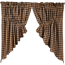 BLACK CHECK Scalloped Praire Swag - Set of 2 - Raven and Khaki  - VHC Brands