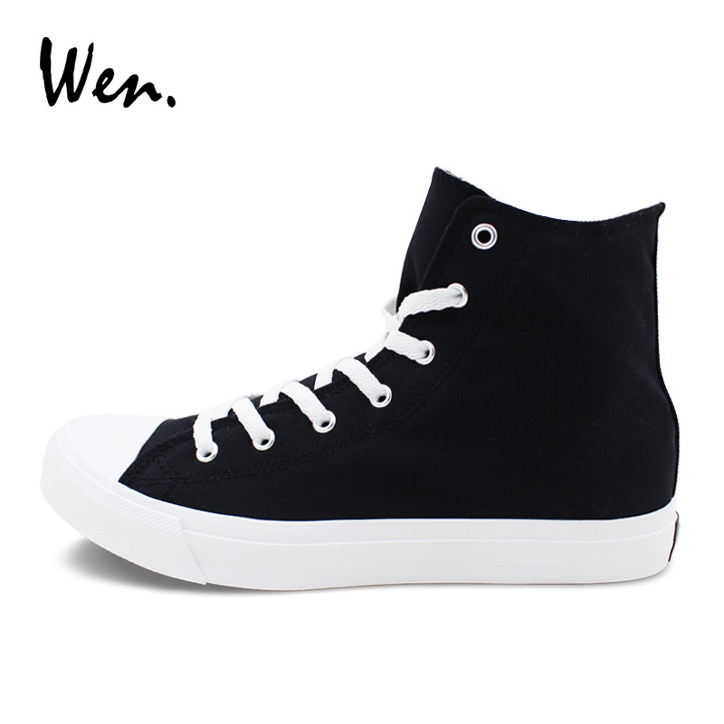 fdf716b83067 Wen classic black sports sneakers mens womens high top canvas shoes lace up  flat solid color