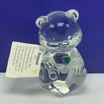 Fenton glass teddy bear figurine birthday stone sculpture August Peridot... - $38.50