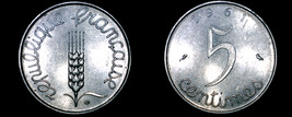 1961 French 5 Centimes World Coin - France - $4.99