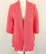 PURE Handknit Size M L Coral Cotton Boutique Cardigan Sweater - $23.99