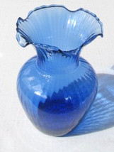 Vintage Indiana Glass Blue Glass With Swirl Design & Scalloped Top Vase - $24.99