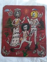 Rare Mexican Folk Art Velez Tin Painting Rustic Day of the Dead Gunslingers - $83.60