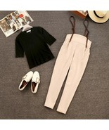 Summer Sweet Sets for Women Black Round Neck Short Sleeve T-shirts + High - $35.99