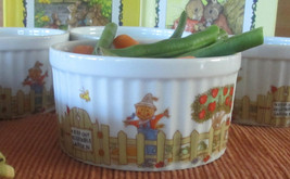 Vegetable Garden Scarecrow Enesco 1976  apples custard cup dish set of 4 ceramic - $17.85