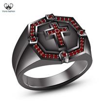 Black Rhodium Plated 925 Pure Silver Round Cut Red Garnet Men's SPL Cross Ring - $131.99