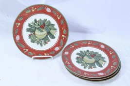 "Gibson Boughs Of Holly Xmas Salad Luncheon Plates 9.25"" Lot of 4 - $58.79"