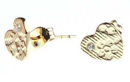 Kevia 18K Plaqué Or Zircone Cristal Coeur Brocart Post Boucles D'Oreilles