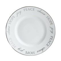 4 Pier 1 Holiday Peace & Joy Silver SALAD PLATES NEW WITH LABEL - $69.29