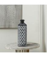 Nikki Chu Mazara Decorative Vase Matte Black Base w/ White Triangle Pattern - $37.95