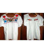 Womens White Top W/Beautiful Floral Eagle VIVA MEXICO Folklorico Embroid... - $35.50+