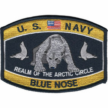 """4.5 """" NAVY BLUE NOSE POLAR BEAR REALM OF THE ARCTIC CIRCLE EMBROIDERED P... - $16.24"""