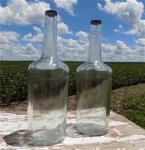 2 18 Inch Tall Large Liquor Glass Bottles Empty 76D-126 Wine Vintage Alc... - $77.00