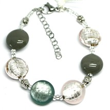 "BRACELET PINK GRAY ROUNDED MURANO GLASS DISC, 19cm, 7.5"", ITALY MADE image 1"