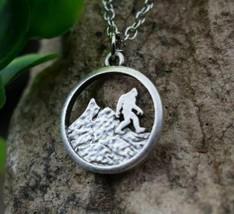 Bigfoot Necklace Pendant Mountain Antique Camping Necklace Silver Color ... - $9.79