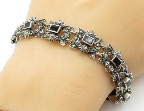 925 Sterling Silver - Vintage Black Onyx & Marcasite Chain Bracelet - B6135