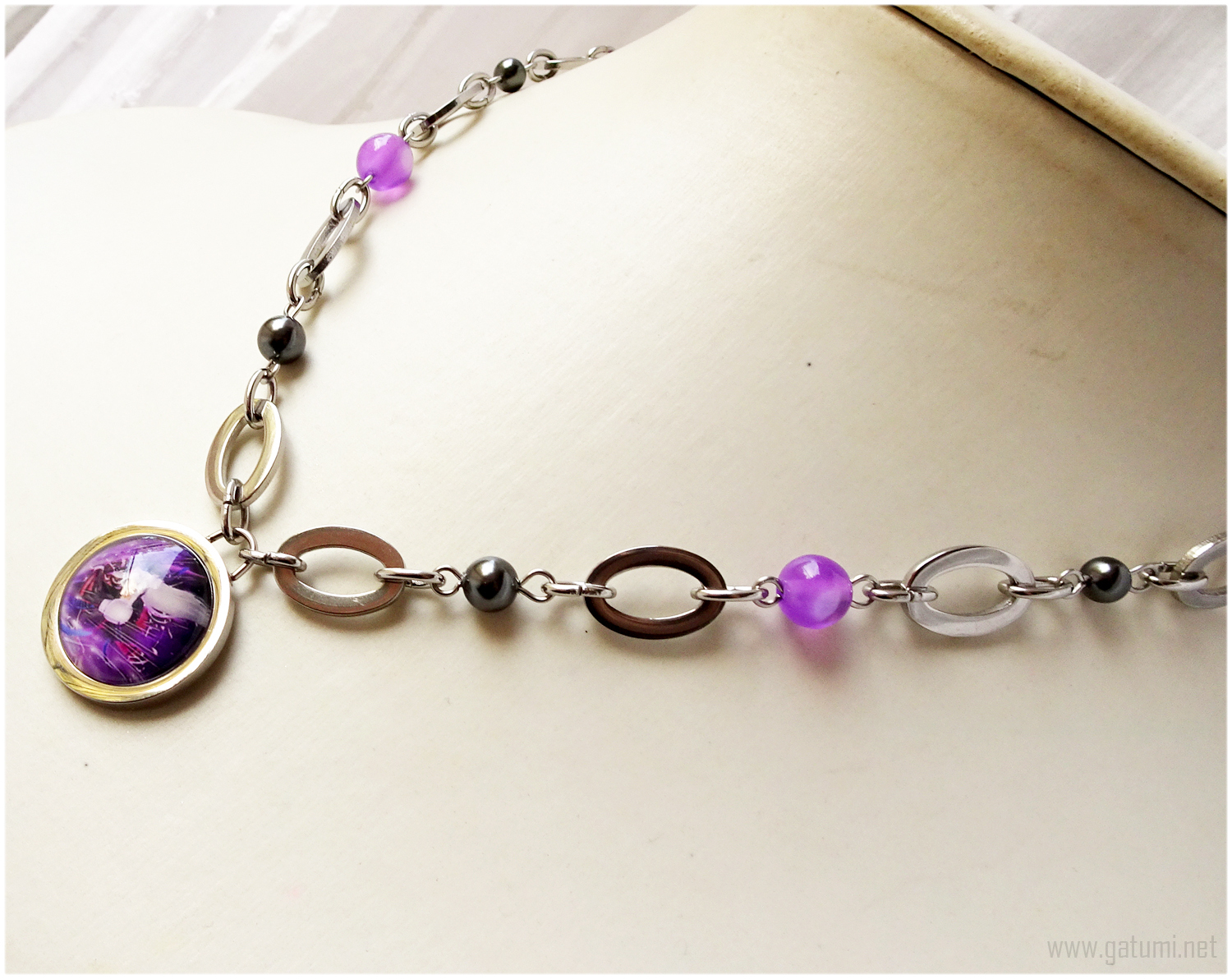 Sephiroth Domed Glass Necklace, Purple, Gunmetal, Silver, Handmade Jewelry