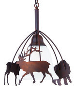 Large Rustic Metal Moose Bear Deer Pendant Light Cabin Cottage Lodge Lig... - $124.64