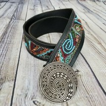 Chico's Size L Southwestern Boho Embroidered Beaded Belt Abstract Leathe... - $32.68