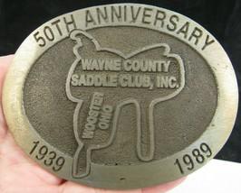 LARGE CUSTOM BELT BUCKLE Wayne County Saddle Club Wooster OH Equine Western - $32.71