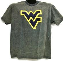West Virginia Mountaineers Acid Washed Dark Grey Tee Shirt Large - $13.99