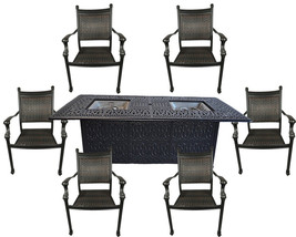 7 Piece Outdoor Wicker Patio Dining Chair Set Propane Fire Pit Table Aluminum image 1