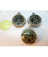 3 BILTMORE INGRAHAM LUMINOUS RADIUM HANDS DOLLAR POCKET WATCHES FOR REPA... - $120.94