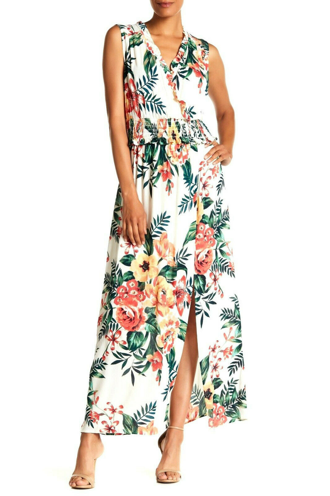 Primary image for ECI Ivory Floral Print Sleeveless Ruffle Trim Maxi Dress Size Small $128