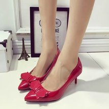 PS017 sweet heigh-heeled pump w bows, candy color, size, 35-39, red - $48.80