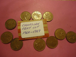 1960-1969 CANADIAN CENT LOT OF 10 COINS      >>>>>      C... - $0.99