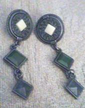 Vintage Southwestern Dangling Pewter Tone Concho Pierced Earrings  - $3.80