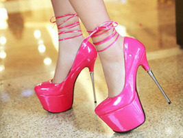 PP045 Luxury 16 cm stiletto pump in candy color, size, 35-39,rosary red - $48.80