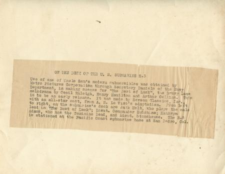 Kathryn Adams Jack Holt U.S. SUBMARINE H-5 Metro c.1920 Original Movie Photo