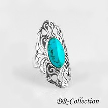 Stylish Sterling Silver Ring with Large Blue Turquoise Stone - $24.95