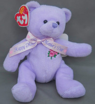 "Ty Plush Love to Mom Purple Bear Roses Happy Mother's Day Ribbon 5""  Cod... - $14.84"