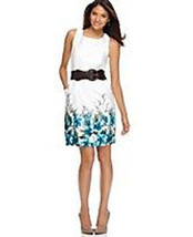 New White Sateen Floral Border Print Summer Dre... - $34.64