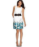 New White Sateen Floral Border Print Summer Dress Career Weekend Party C... - $34.64