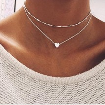 2019 Gold Color Love Heart Choker Necklace For Women Multi Layer Beads C... - $9.36