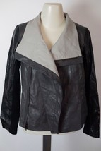 VINCE | Colorblock Leather Jacket sz S $1085 —  V290890451 IN BLACK -zipper - $534.59