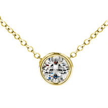 "0.40 Carat G-H SI2 Diamond Bezel Solitaire Necklace 18"" Chain 14K Yellow Gold - $435.58+"