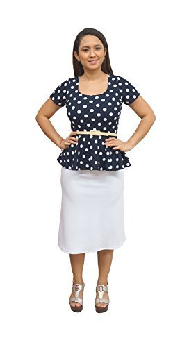DBG Women's Navy White Polka Dots Short Sleeves Blouse-4X