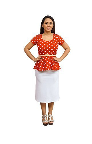 DBG Women's Navy White Polka Dots Short Sleeves Blouse-5X