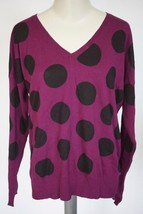 LOVE BY DESIGN | Polka Dot V-Neck Sweater (Juniors) sz XL dark pink $48 guc - $20.48